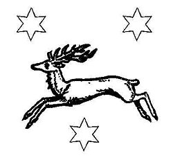Deer leaping with stars