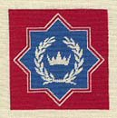 Embroidery with crown and laurel wreath